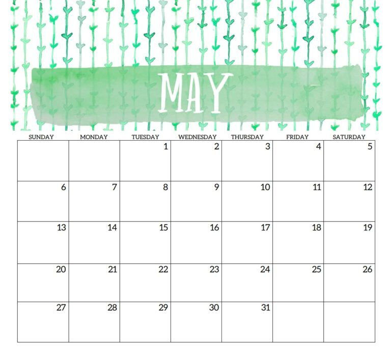 May 2018 Printable Template Calendar Calendar 2018 planner, 2018
