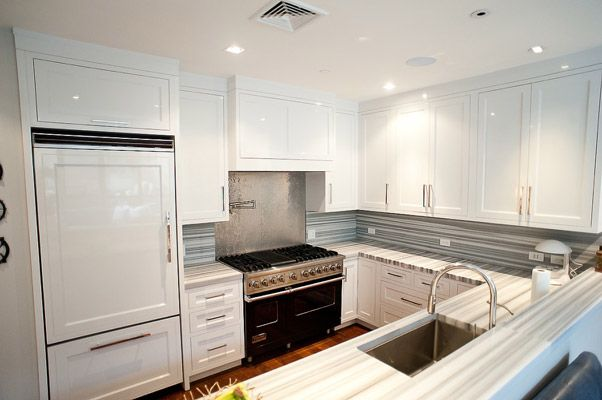 Modern White Shaker Kitchen contemporary kitchen with white shaker kitchen cabinets, stone