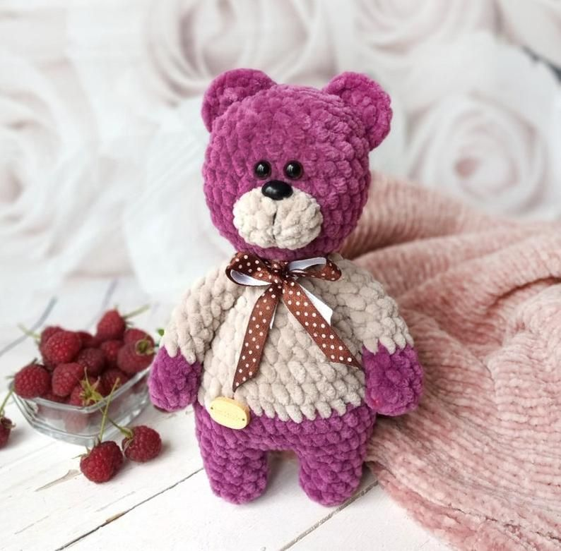 Knitted toy Teddy bear plush toy. Gift to children. Teddy bear. Child play