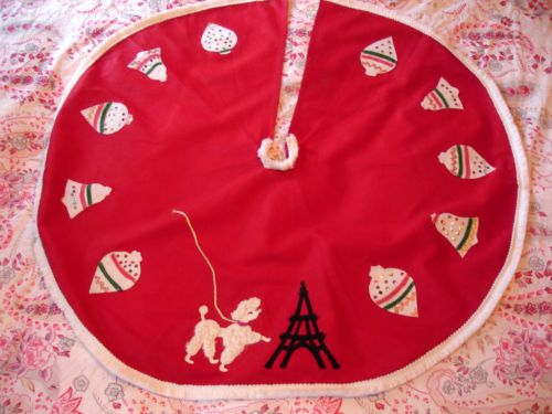 Vintage Poodle Eiffel Tower and Sequins Christmas Tree Skirt with Fringe Cotton | eBay