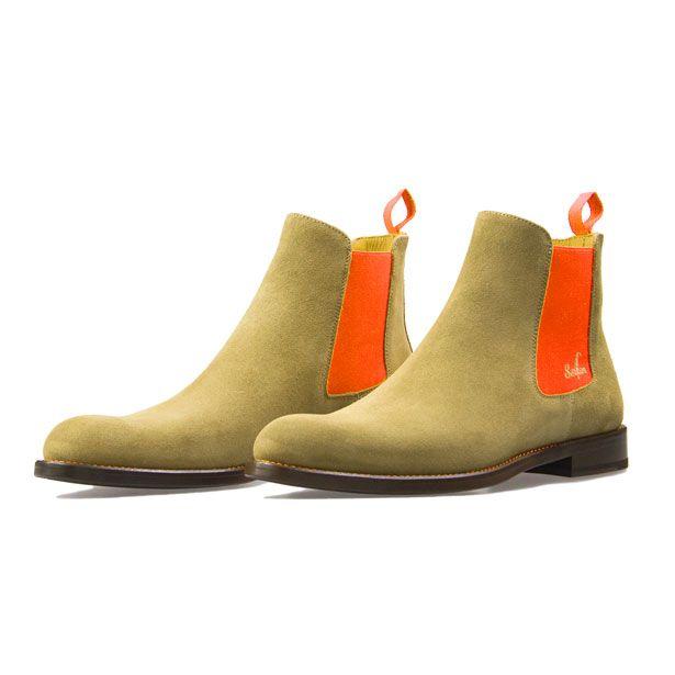 serfan chelsea boot women beige suede orange spandex. Black Bedroom Furniture Sets. Home Design Ideas