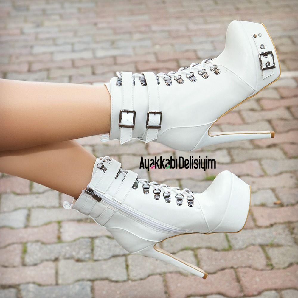 Armoni Beyaz Platform Topuklu Bot #fashiontag