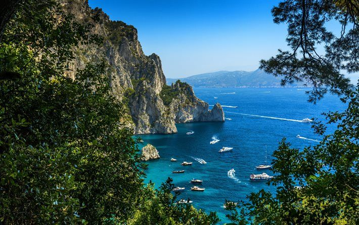 Download Wallpapers Capri Coast Mediterranean Italy