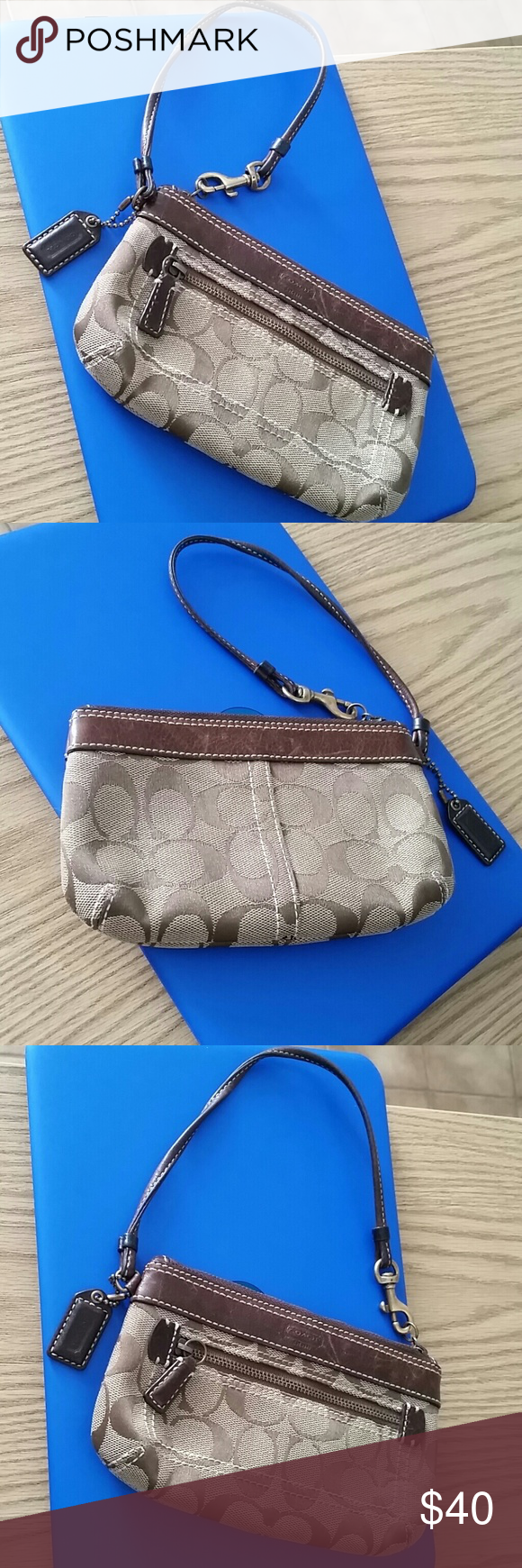 Coach Very cute wristlet in great condition. Big enough for most cellphones and has extra zippered compartment on the outside. Coach Bags Clutches & Wristlets