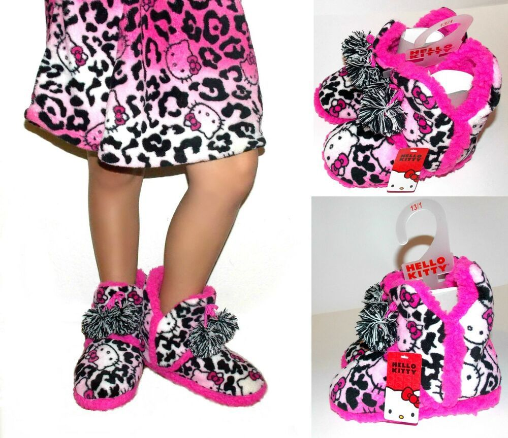 Hello Kitty Girls Plush Slipper Booties