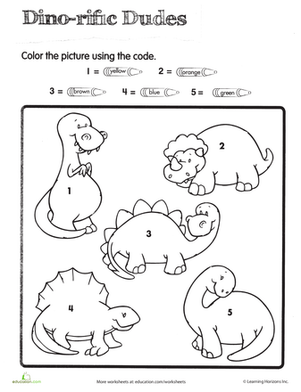 Color by Number Dino Dudes Dinosaur theme preschool