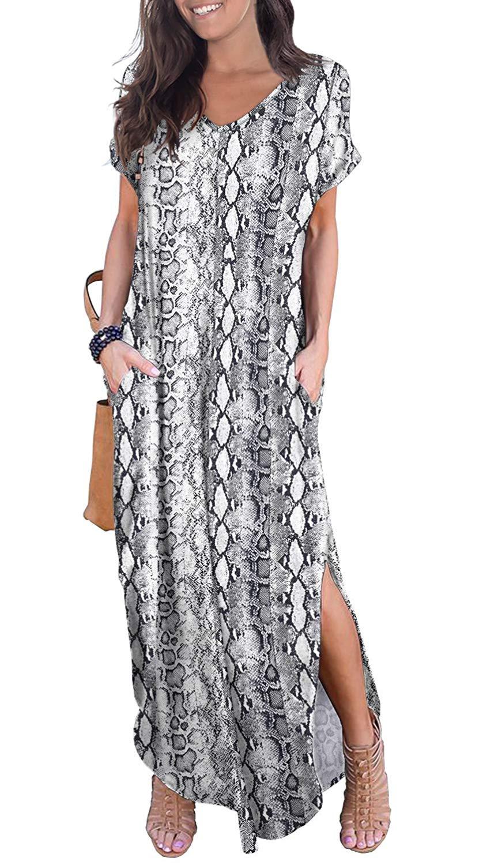 Grecerelle Women S Casual Loose Pocket Long Dress Short Sleeve Split Maxi Dress Dark Green M At A Split Maxi Dress Sleeves Designs For Dresses Guess Maxi Dress [ 1500 x 864 Pixel ]