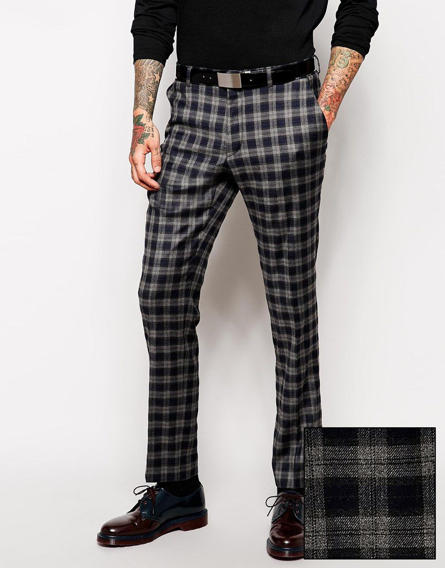 Asos Slim Fit Smart Trousers In Tartan In Gray For Men