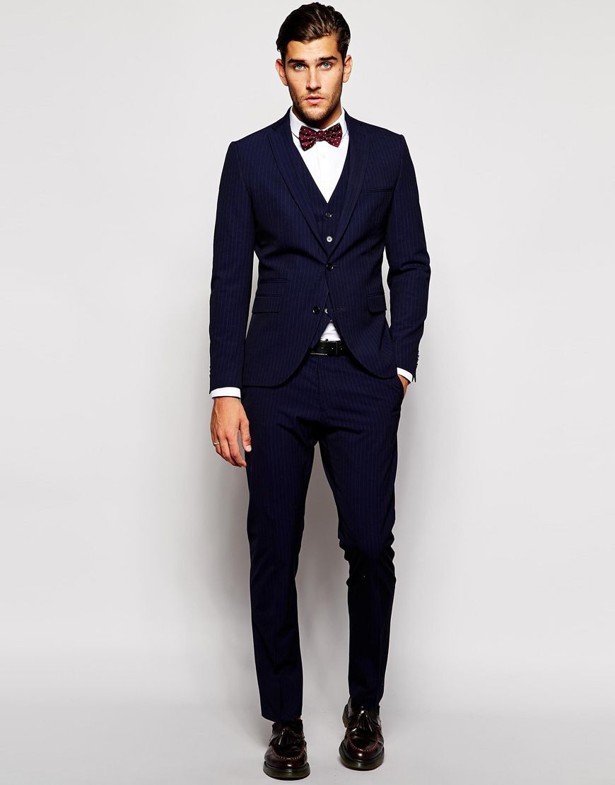 Selected Navy Pinstripe Suit in Slim Fit | blue suits | Pinterest ...