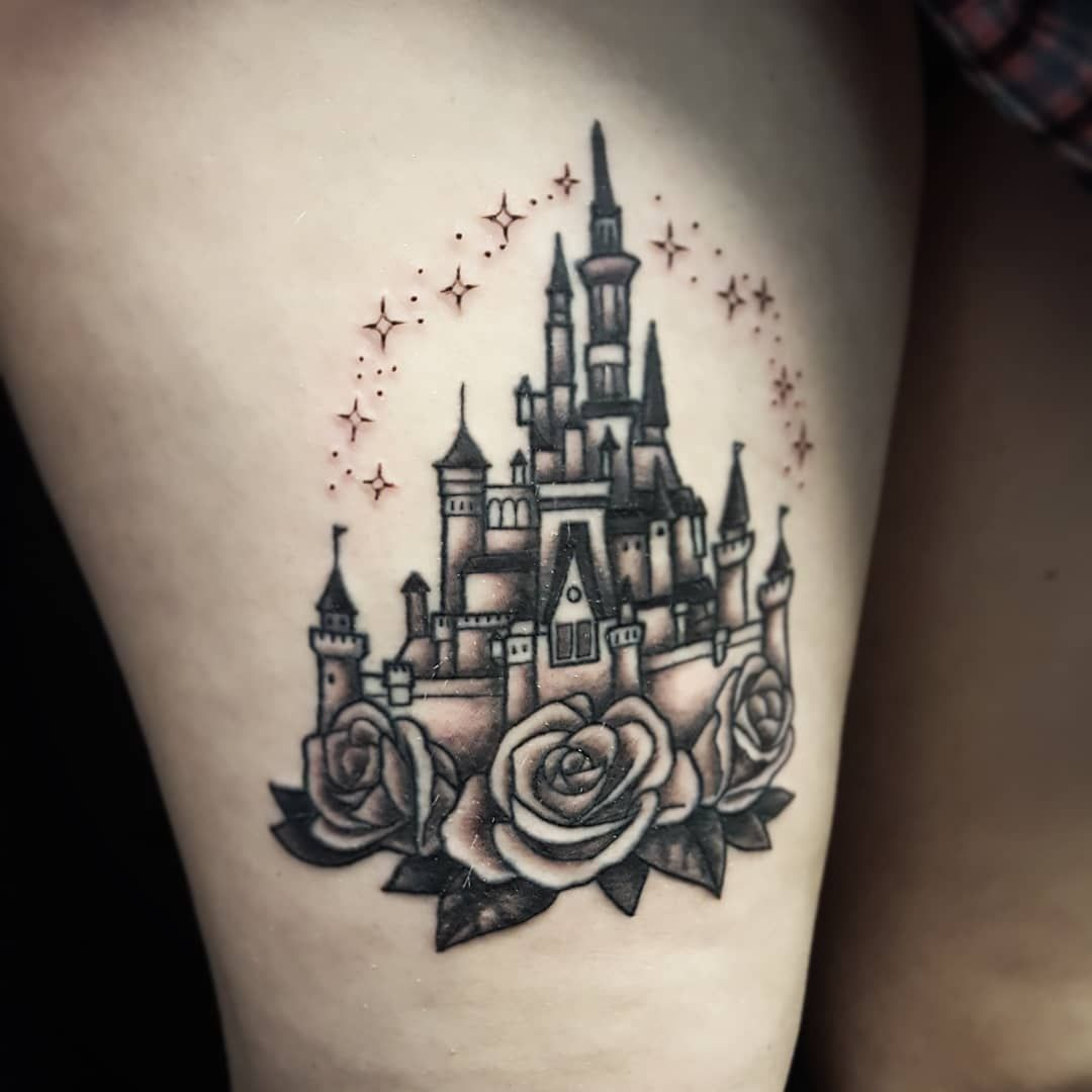 Loved Getting To Finish This Black And Gray Traditional Style Disney Castle Today Lines Were Healed Castle Tattoo Disney Castle Tattoo Tattoos And Piercings
