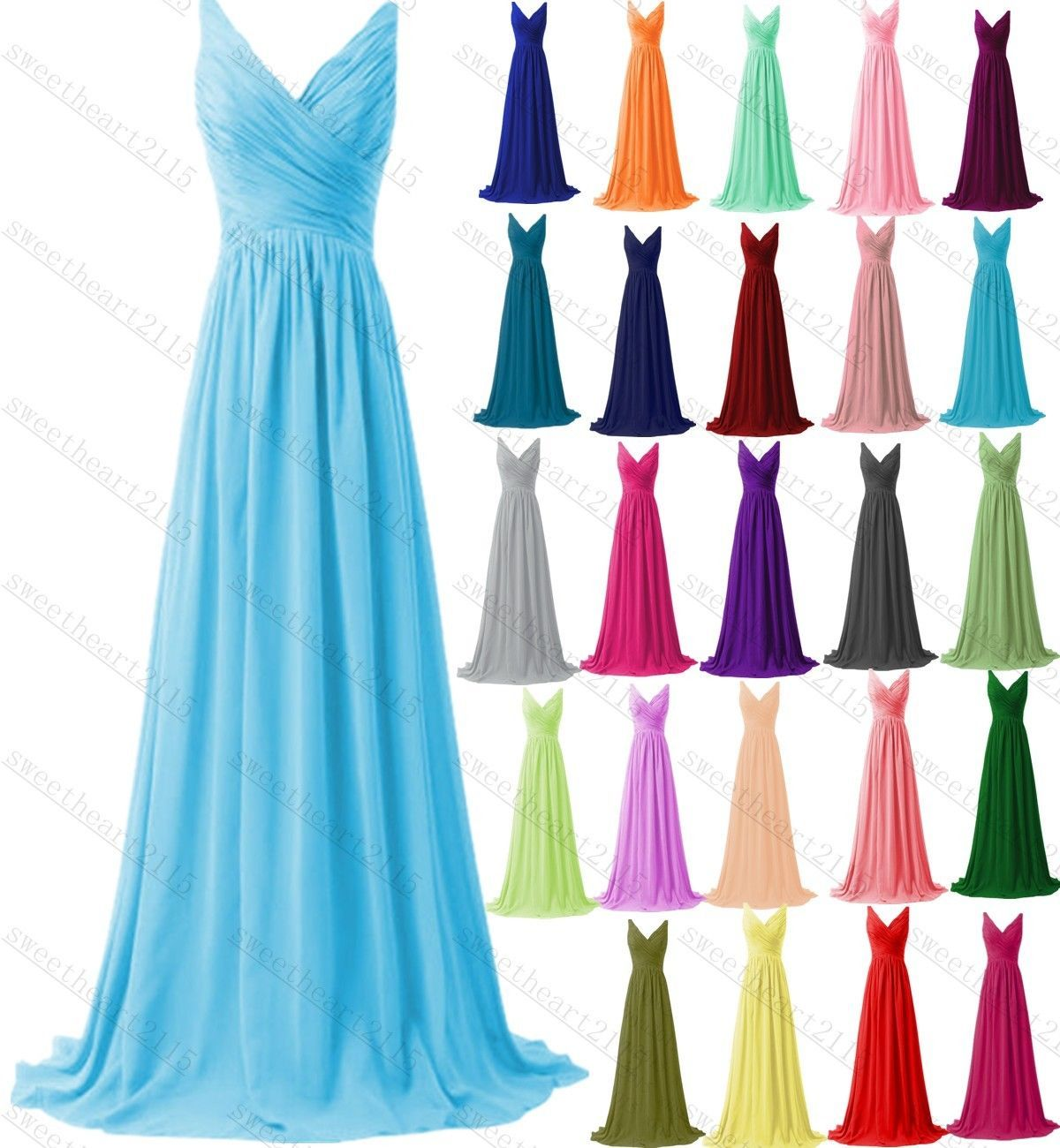 Long Formal Evening Ball Gown Prom Party Bridesmaid Dress Stock Size ...