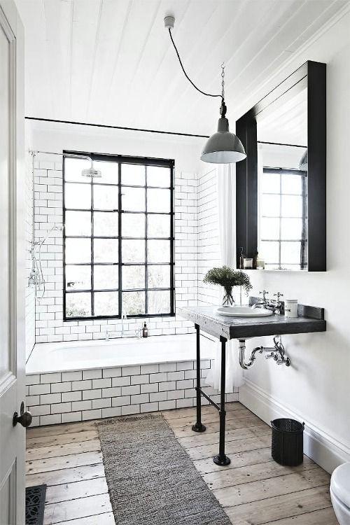 Light Fixtures For New Farmhouse Style  Retro Bathrooms Retro Custom Small Black And White Tile Bathroom Inspiration Design