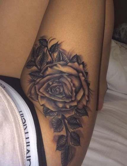 Trendy Tattoo Oberschenkel Mädchen Körperkunst 30 Ideen -  Trendy Tattoo Oberschenkel Mädchen Körper