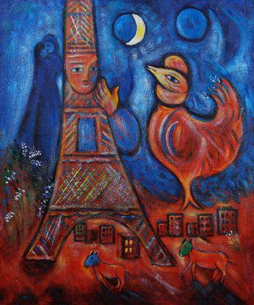 Bonjour Paris Oil Painting by Marc Chagall