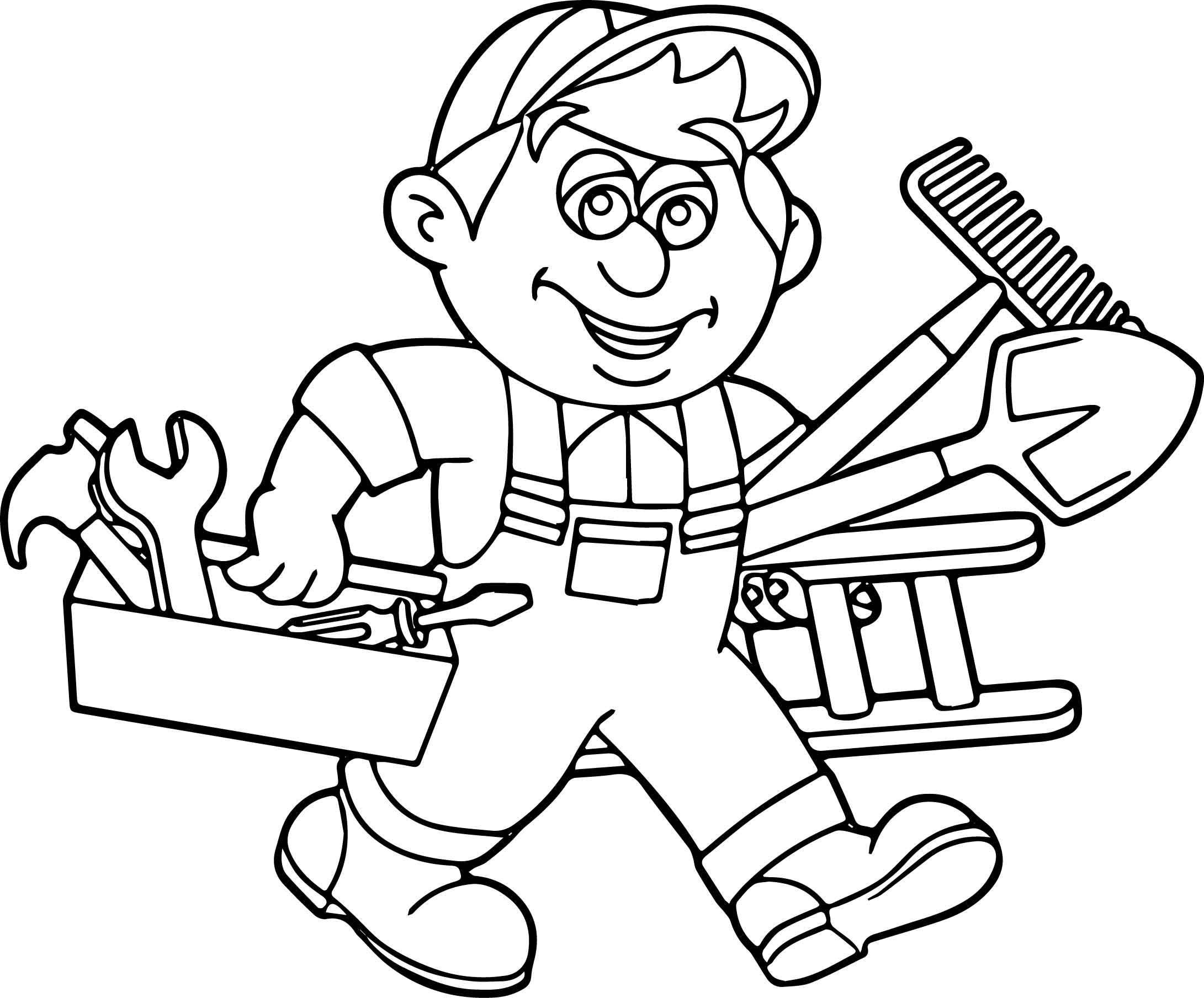 Nice Carpenter Handyman Services Toolbox Coloring Page Handyman