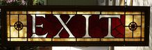 Large Antique Leaded Stained Glass Exit Sign Window