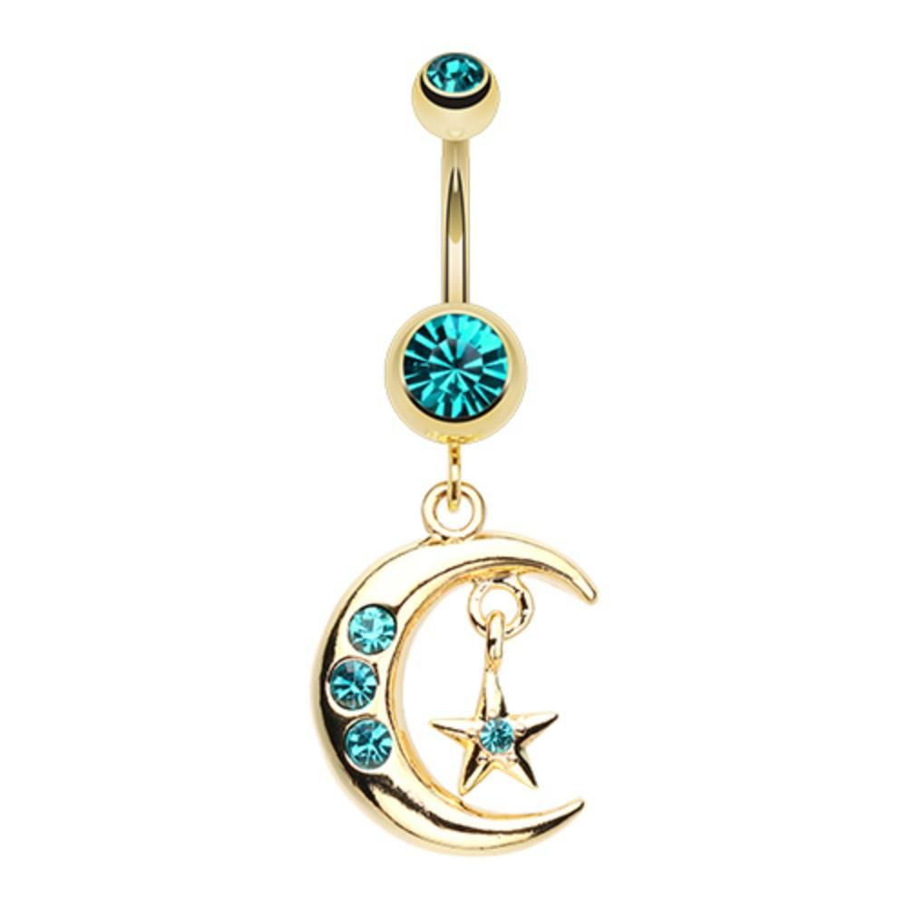 Belly button piercing earrings  Golden Moon and Star Belly Button Ring  Products  Pinterest