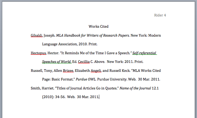 An Example Of What Your Works Cited Page Should Look Like Writing