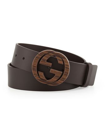 1cc7ef26c51 Wood Interlocking G Buckle Leather Belt, Brown by Gucci at Neiman Marcus.