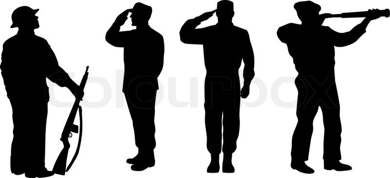 Illustration Of A Silhouette Of A Soldier Saluting Standing Attention Soldier Silhouette Silhouette Army Men