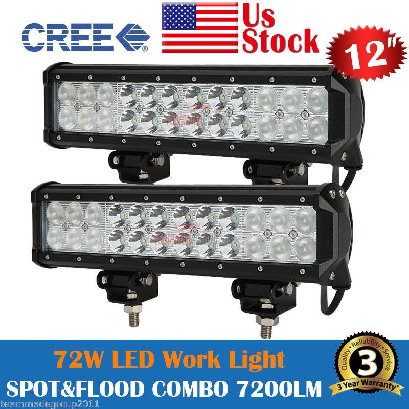 2x 12 Inch 72w Cree Led Light Bar Work Spot Flood Combo Lamp Offroad Suv Atv 4wd Cree Led Light Bar Led Light Bars Cree Led