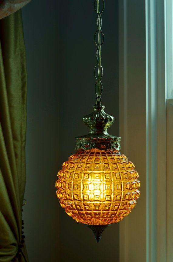 Vintage Hanging Swag Lighting Amber Glass Gold Hardware Home