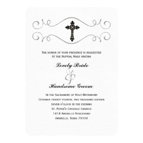 catholic wedding invitation elegant celtic cross catholic wedding, Wedding invitations