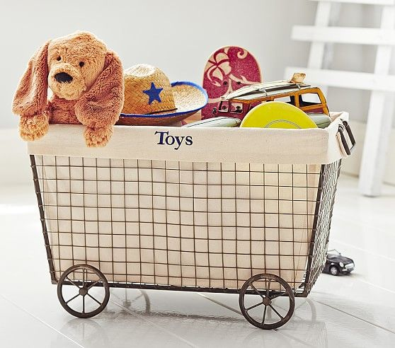 Wire Rolling Toy Basket With Natural Liner Baby Toy Storage Pottery Barn Toy Storage Kids Storage Baskets