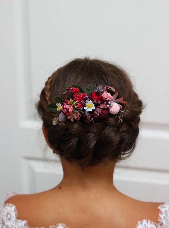 9ceb83c5d6720 Burgundy pink flower comb Floral comb Flower accessories Bridal ...