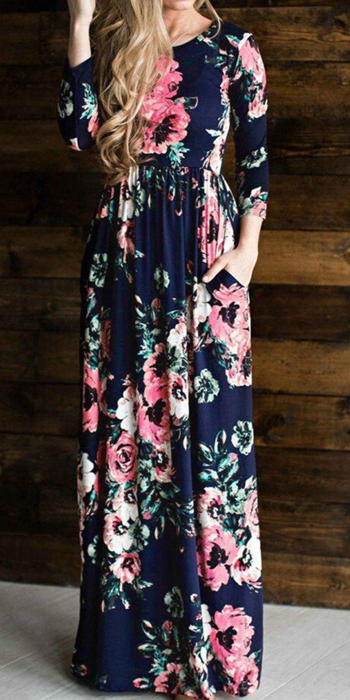 Long sleeve floral printed maxi prom dress stylinu pinterest