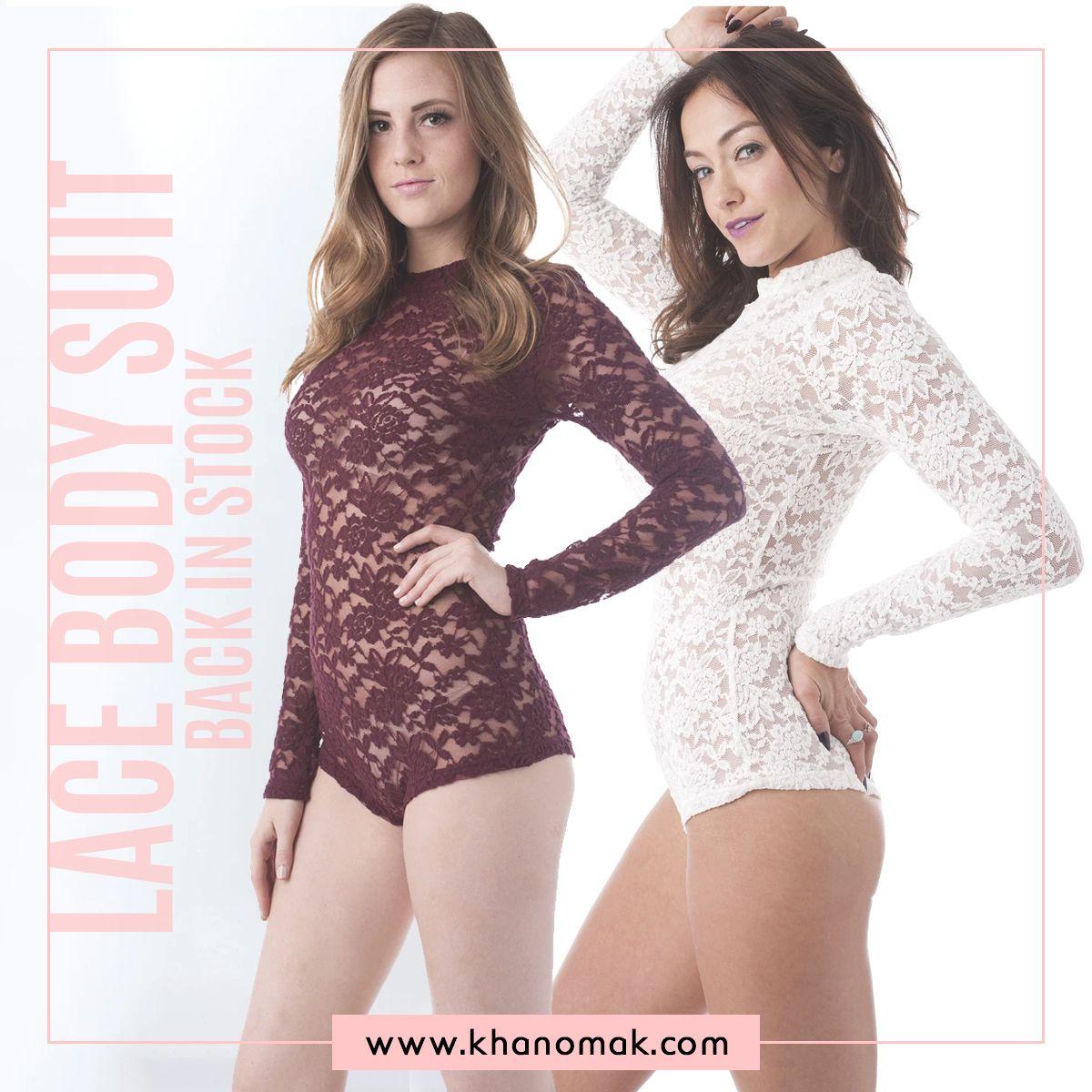 Khanomak Junior Size Long Sleeve All Lace Mock Neck Bodysuit