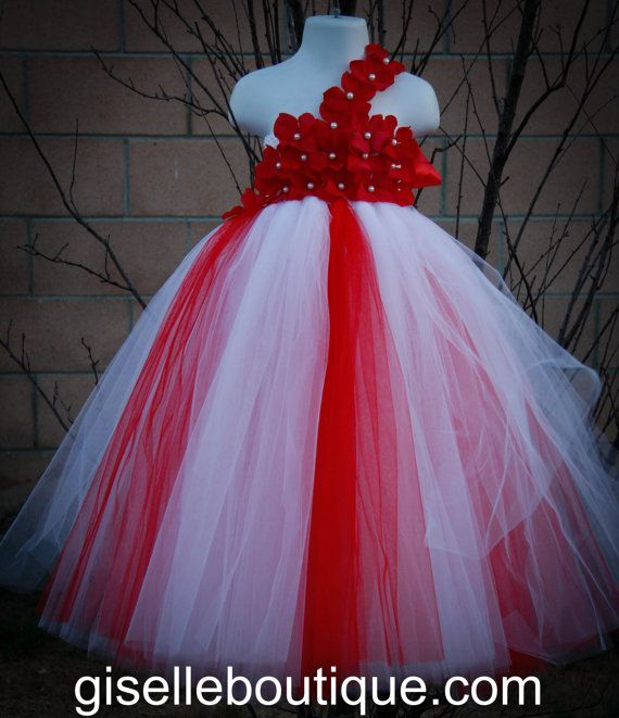 Flower Girl Dress Red And White Tutu Baby By Giselleboutique 9000