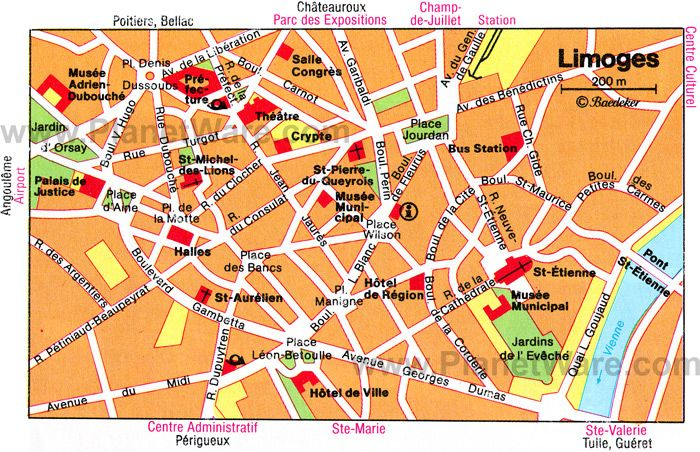 Limoges Map Tourist Attractions FRANCE Pinterest Limousin - Limoges france map