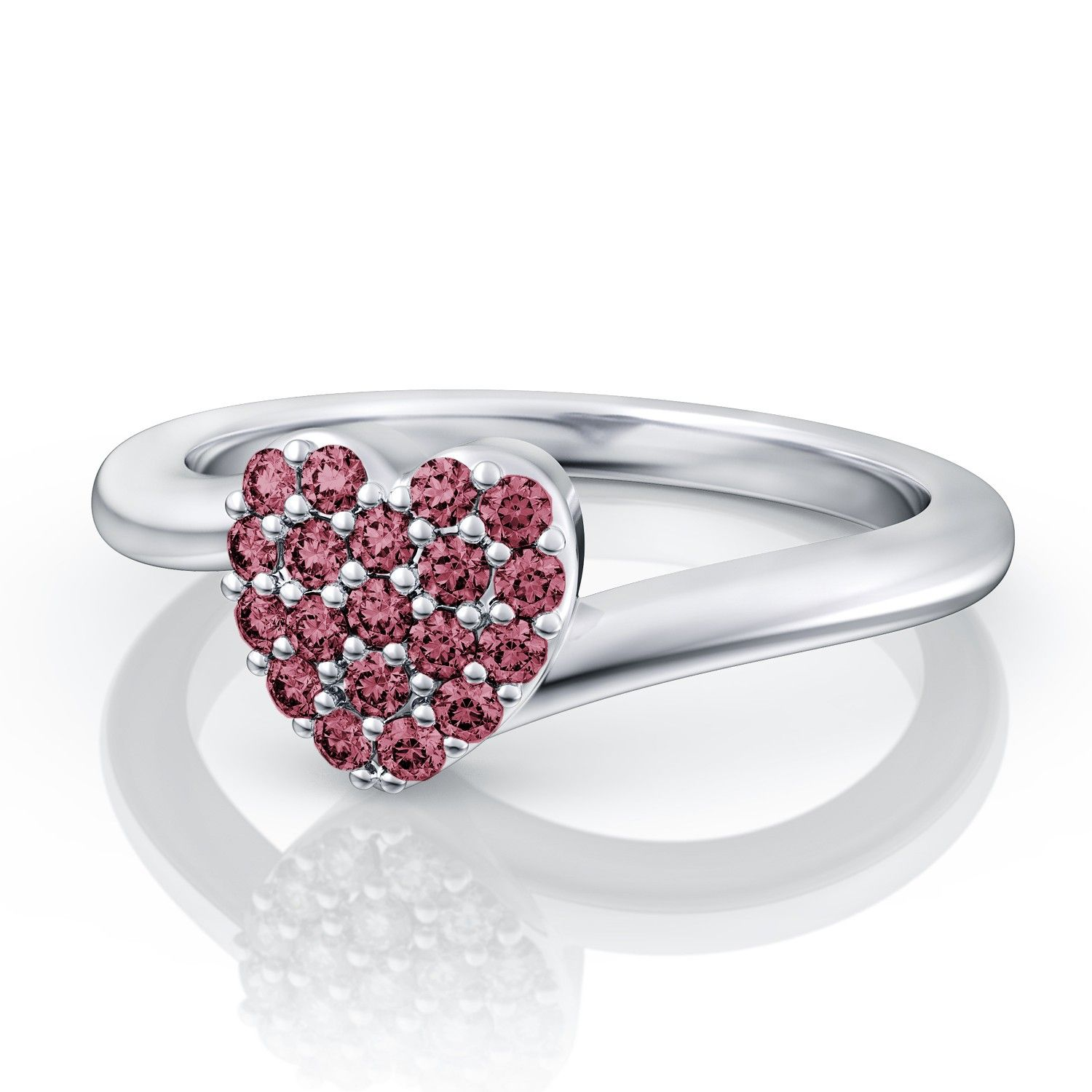 .19ctw Pink Tourmaline Heart Pave Set Ring in 14k White Gold