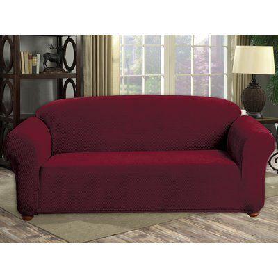 Red Barrel Studio Stretch Diamond Velvet Sofa Slipcover Upholstery: Merlot