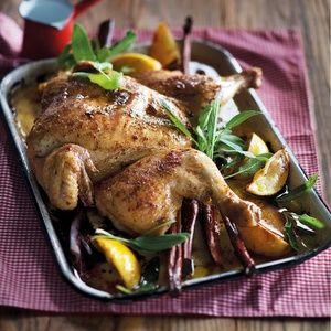 Lemon and cinnamon spatchcock chicken