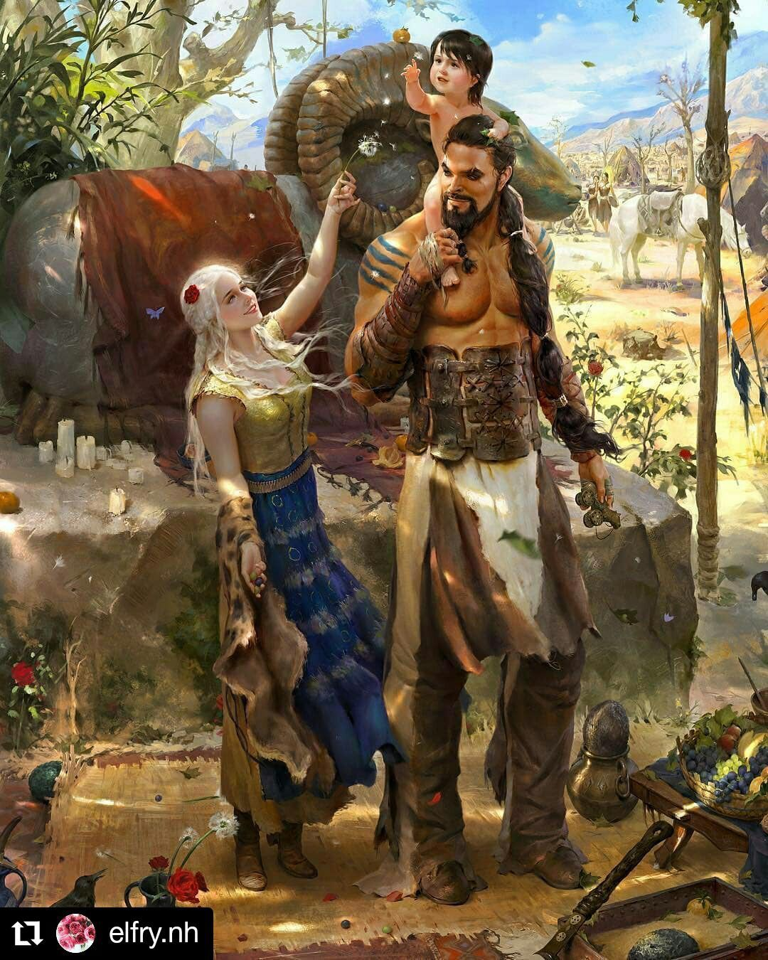 Daenerys And Khal With Their Son Game Of Thrones Character Art Game Of Thrones Artwork Game Of Thrones Art