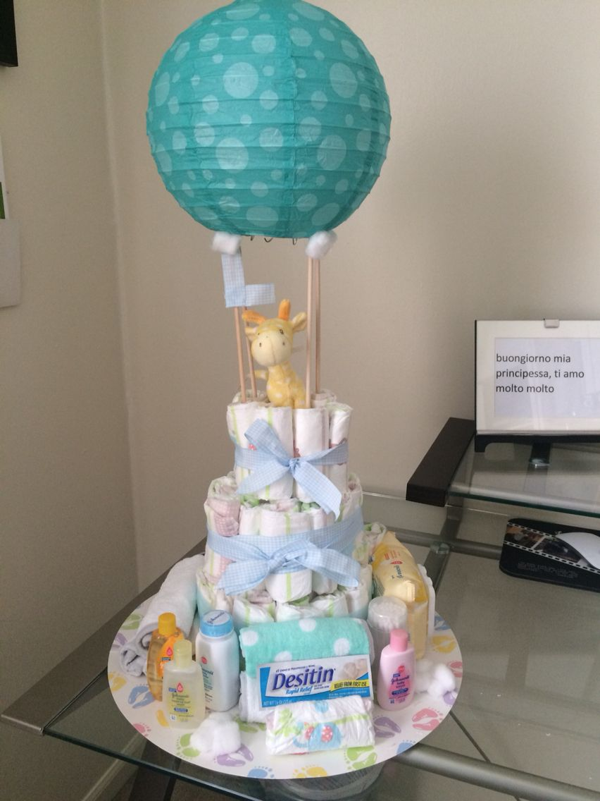 my first ever hot air balloon diaper cake total success diaper cakes baby shower cakes. Black Bedroom Furniture Sets. Home Design Ideas