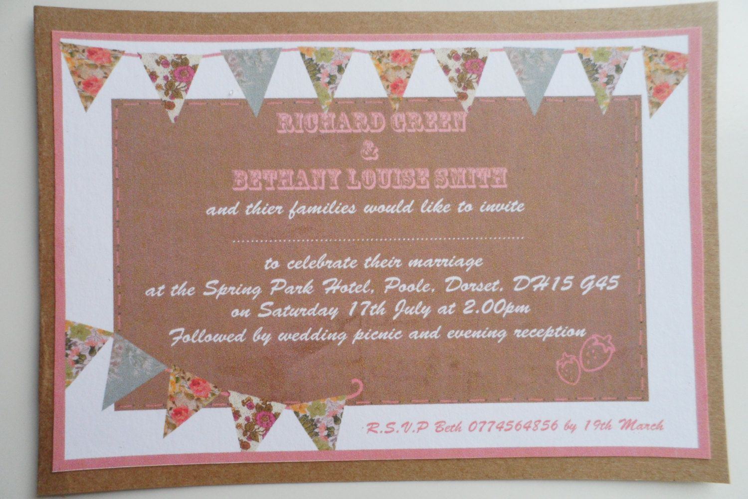 Bunting Wedding Invitation. DIY available. £1.95, via Etsy ...