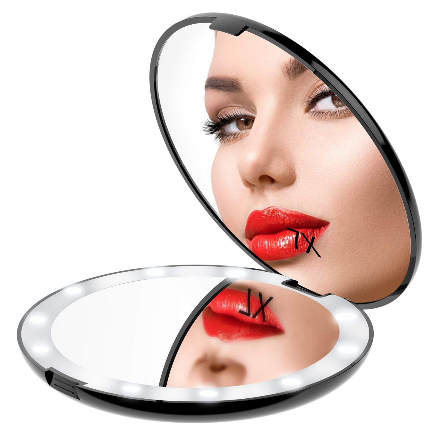 Gospire 5 Inch LED Compact Cosmetic Mirror, 1X/7X Double