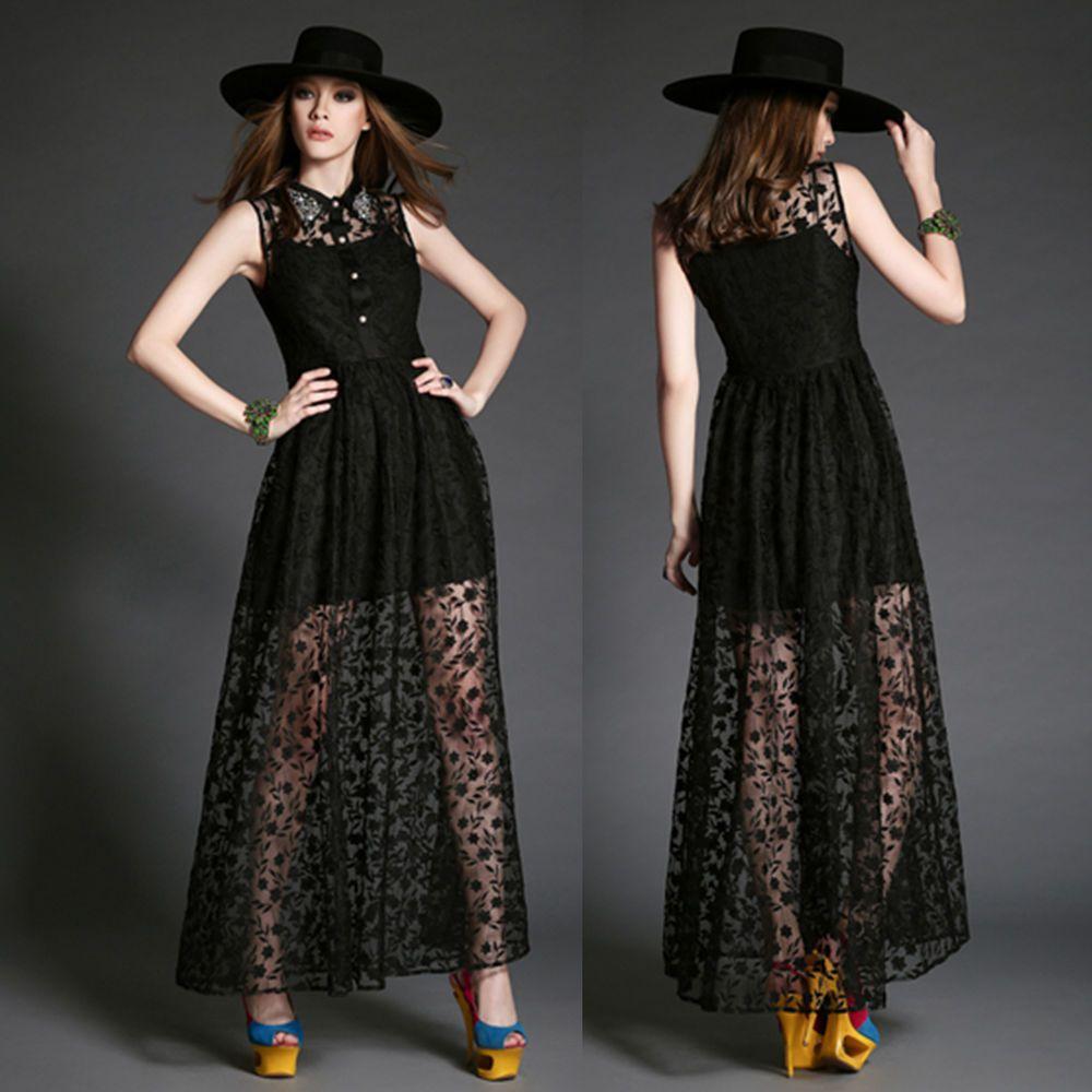 Blackwhite long lace dress bead button shirtcollar women mesh