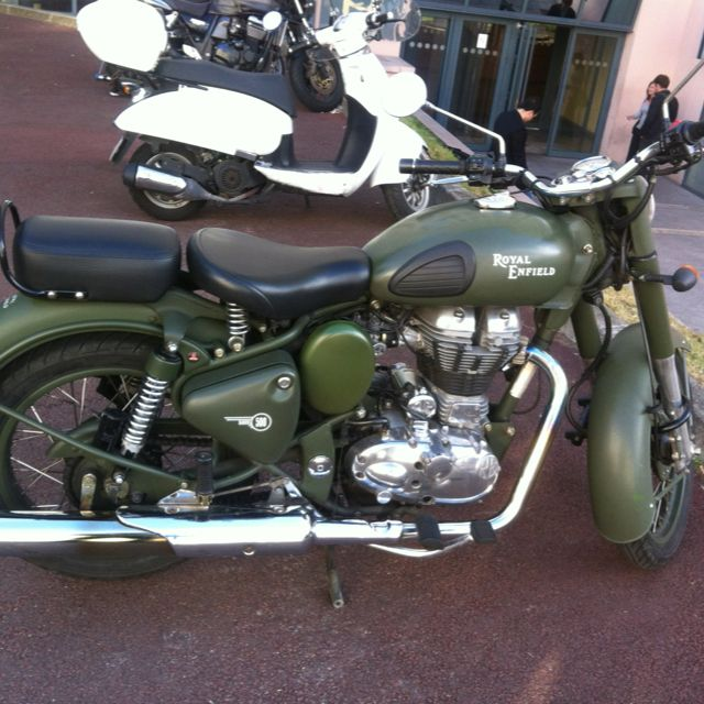 Royal Enfield battle green. Really love to have one.