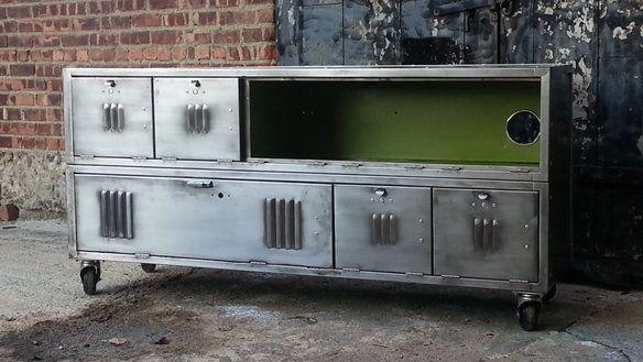 Vintage Repurposed Steel Locker Console Cabinet | Steel locker ...