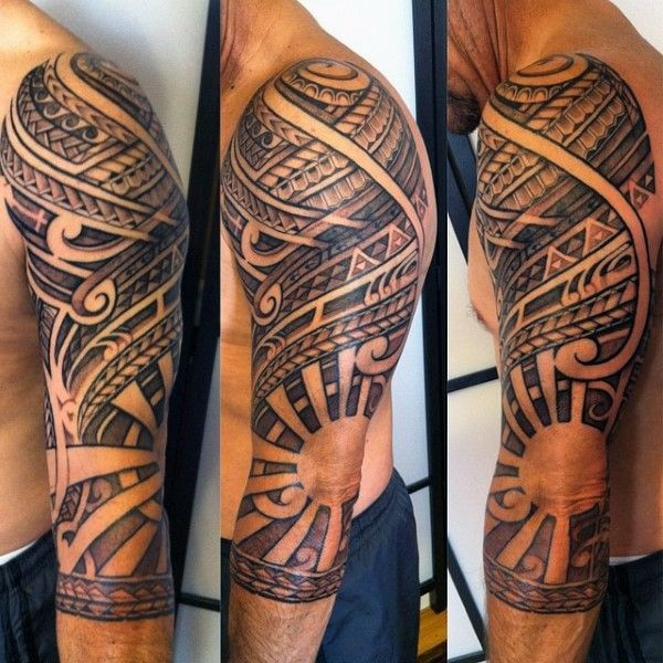 Outline Of Polonisian Sleeve: Polynesian Tribal Half Sleeve Tattoo With Negative Space