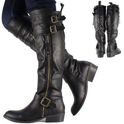3df57832c17c New Womens Ladies Black Knee High Leather Style Flat Low Heel Biker Riding  Boots