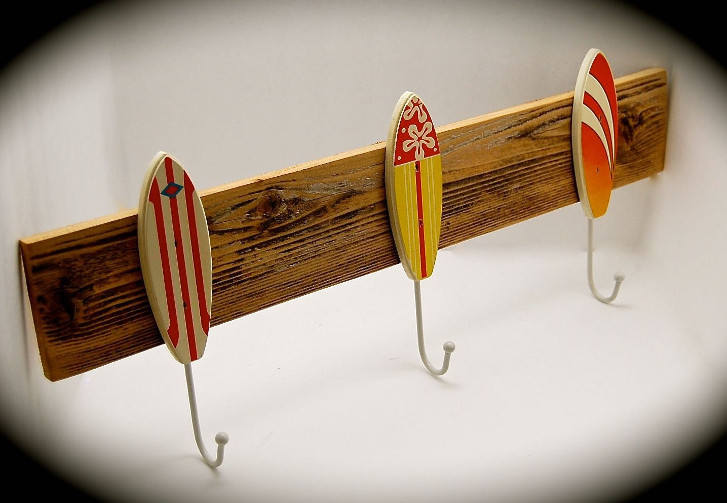 "Surfboard Hat Rack- Surfboard Coat Rack- Surfboard Key Rack- BeachDazzled Organizer Handmade with Reclaimed Cedar 2 Ft. Long 9"" high. by BeachDazzled on Etsy"