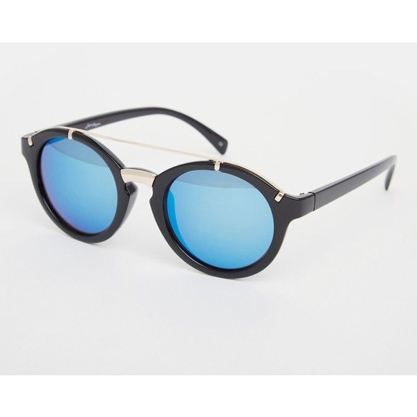 Jeepers Peepers Round Metal Detail Sunglasses (€20) ❤ liked on Polyvore featuring accessories, eyewear, sunglasses, black silver, uv protection sunglasses, round sunnies, rounded sunglasses, round glasses y jeepers peepers sunglasses