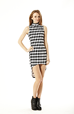 Elegant and sexy, high-collar, sleeveless, high and low dress featuring black and white checkered pattern.Details: - Polyester/Rayon/Spandex - Hand Wash Cold - Made in USA