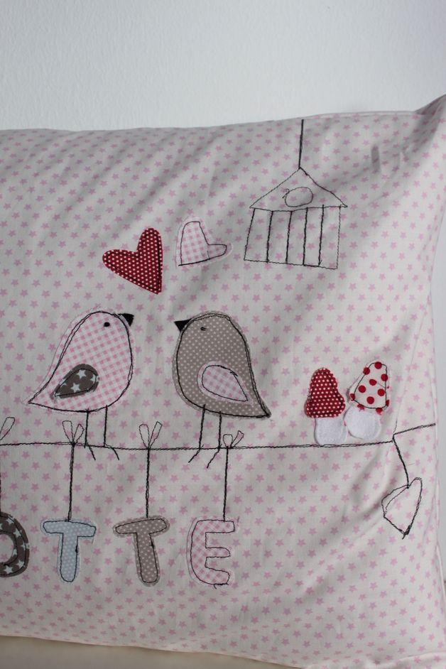 """Kissen - Kuschelkissen """"Eulenpaar"""" - ein Designerstück von milla-louise bei DaWanda"""