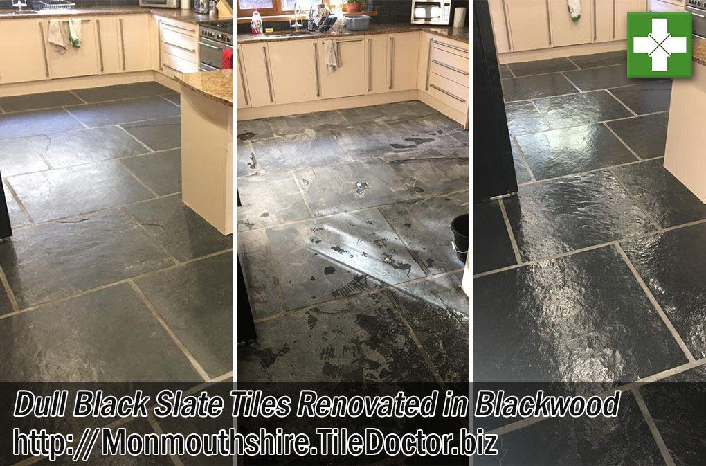 Large Format Slate Kitchen Floor Tiles Renovated In Blackwood